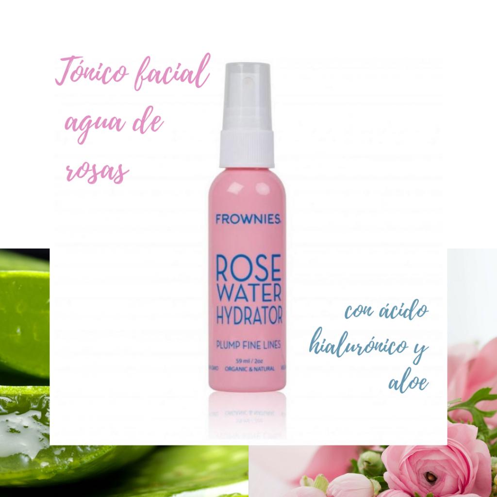 Tónico facial agua de rosas de Frownies con ácido hialurónico y aloe vera